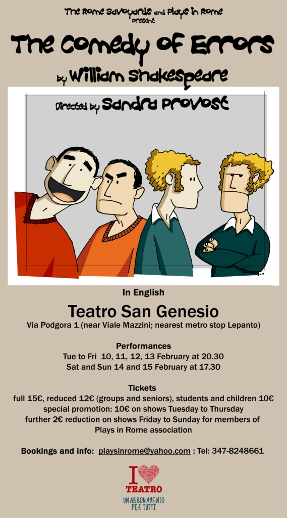 Official Flyer. Performance in English by The Rome Savoyards.
