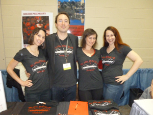 The Burlesque Press crew at Boston AWP 2013.  (Eva, Daniel, Jeni, Merridith.)